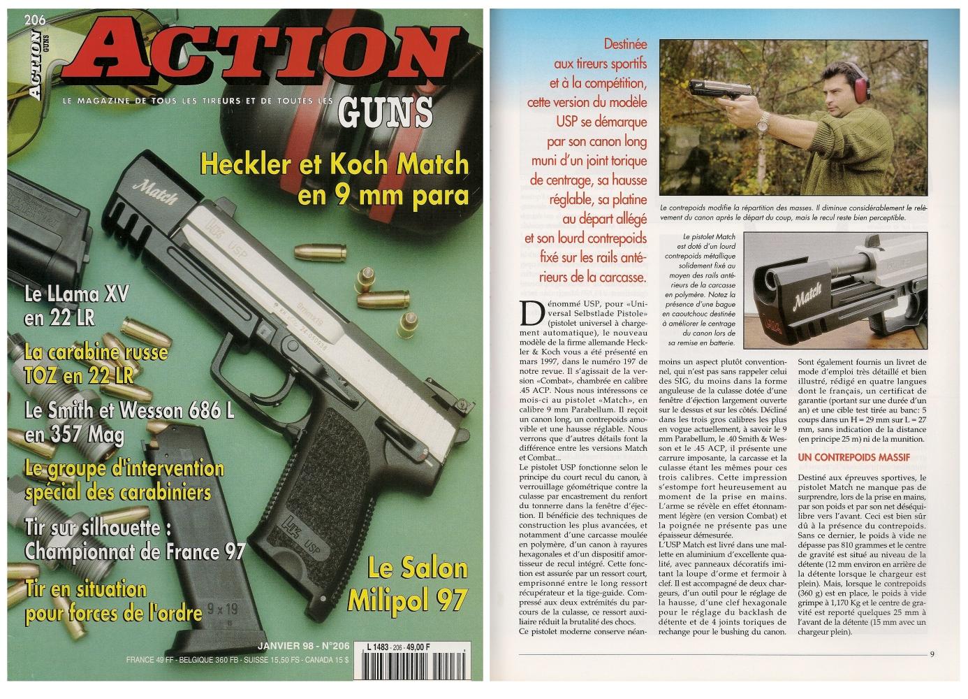 Le banc d'essai du pistolet HK USP Match a été publié sur 6 pages dans le magazine Action Guns n° 206 (janvier 1998).