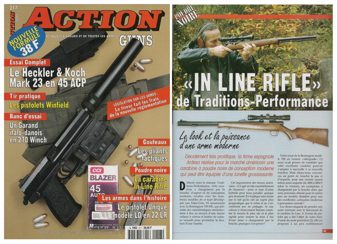 Le banc d'essai de la carabine Ardesa « In Line » a été publié sur 5 pages dans le magazine Action Guns n° 217 (janvier 1999).
