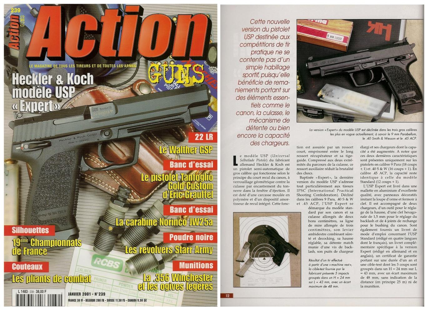 Le banc d'essai du pistolet HK USP Expert a été publié sur 7 pages dans le magazine Action Guns n° 239 (janvier 2001).