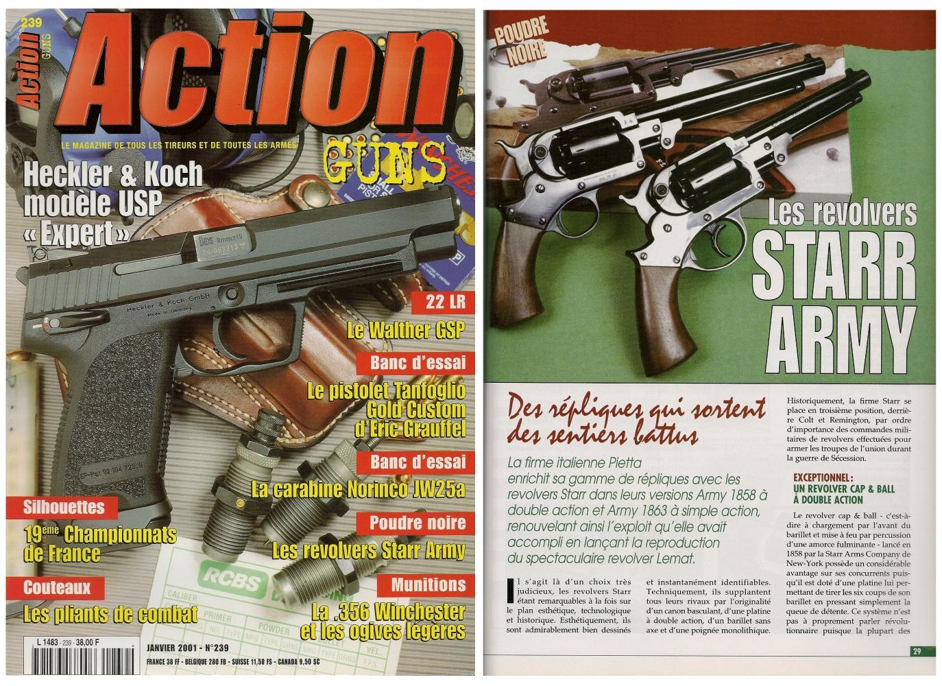 Le banc d'essai des répliques des revolvers Starr Army a été publié sur 6 pages dans le magazine Action Guns n° 239 (janvier 2001).