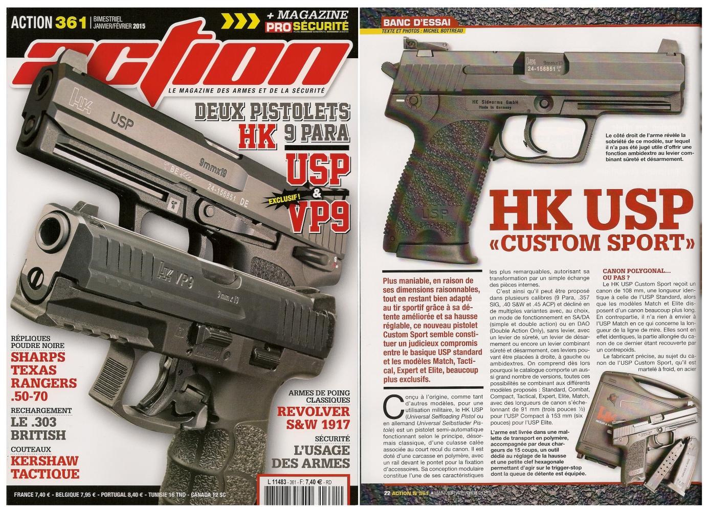 Le banc d'essai du pistolet HK USP Custom Sport a été publié sur 6 pages dans le magazine Action n° 361 (janvier-février 2015).