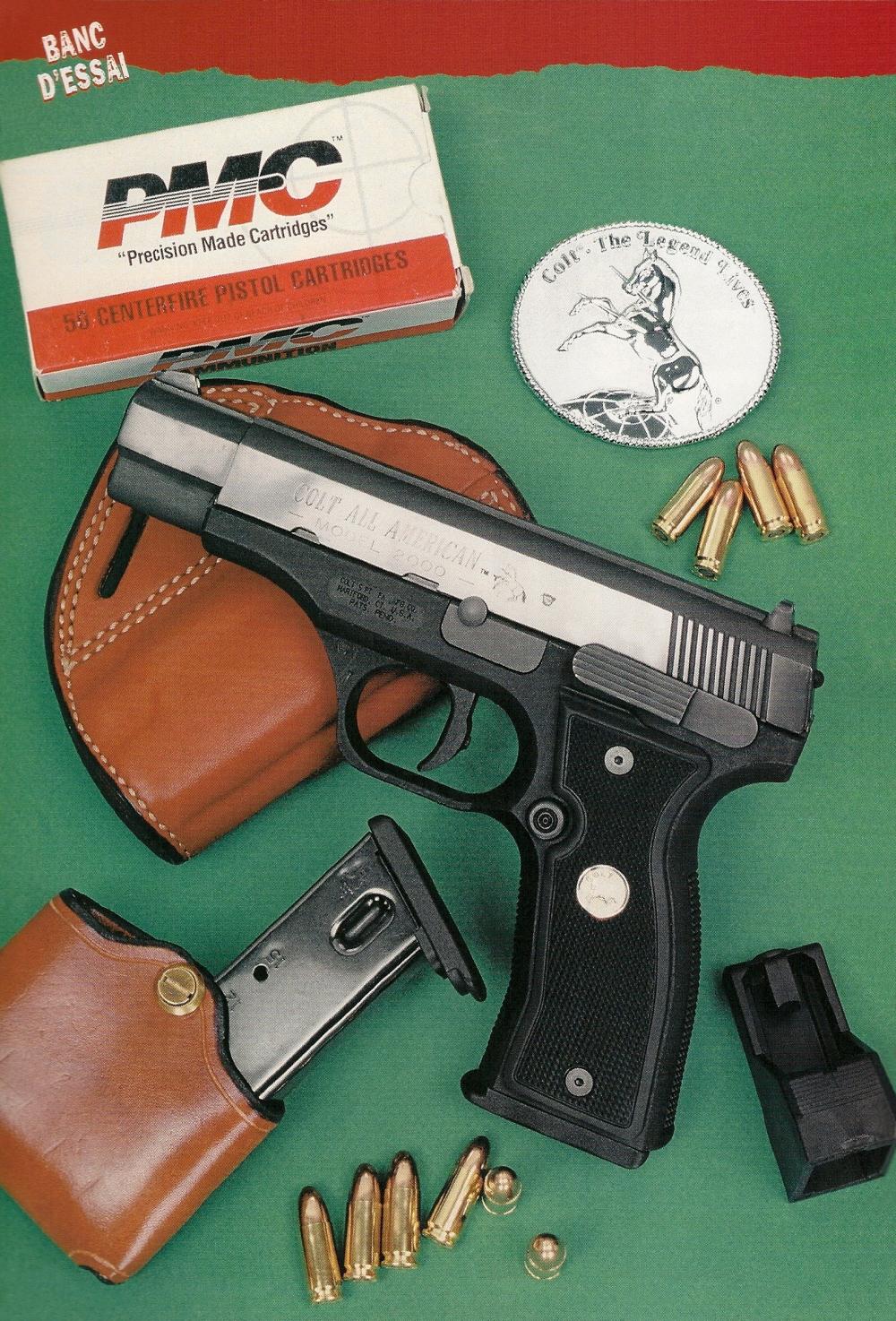 Le Colt modèle 2000 « All American » fonctionne selon un système de culasse calée et canon rotatif tout à fait comparable à celui qui a été retenu par Beretta pour son modèle 2000 « Cougar ». Sa poignée, moulée avec la carcasse en polymère, présente une taille fine malgré la présence d'un chargeur à grande capacité.