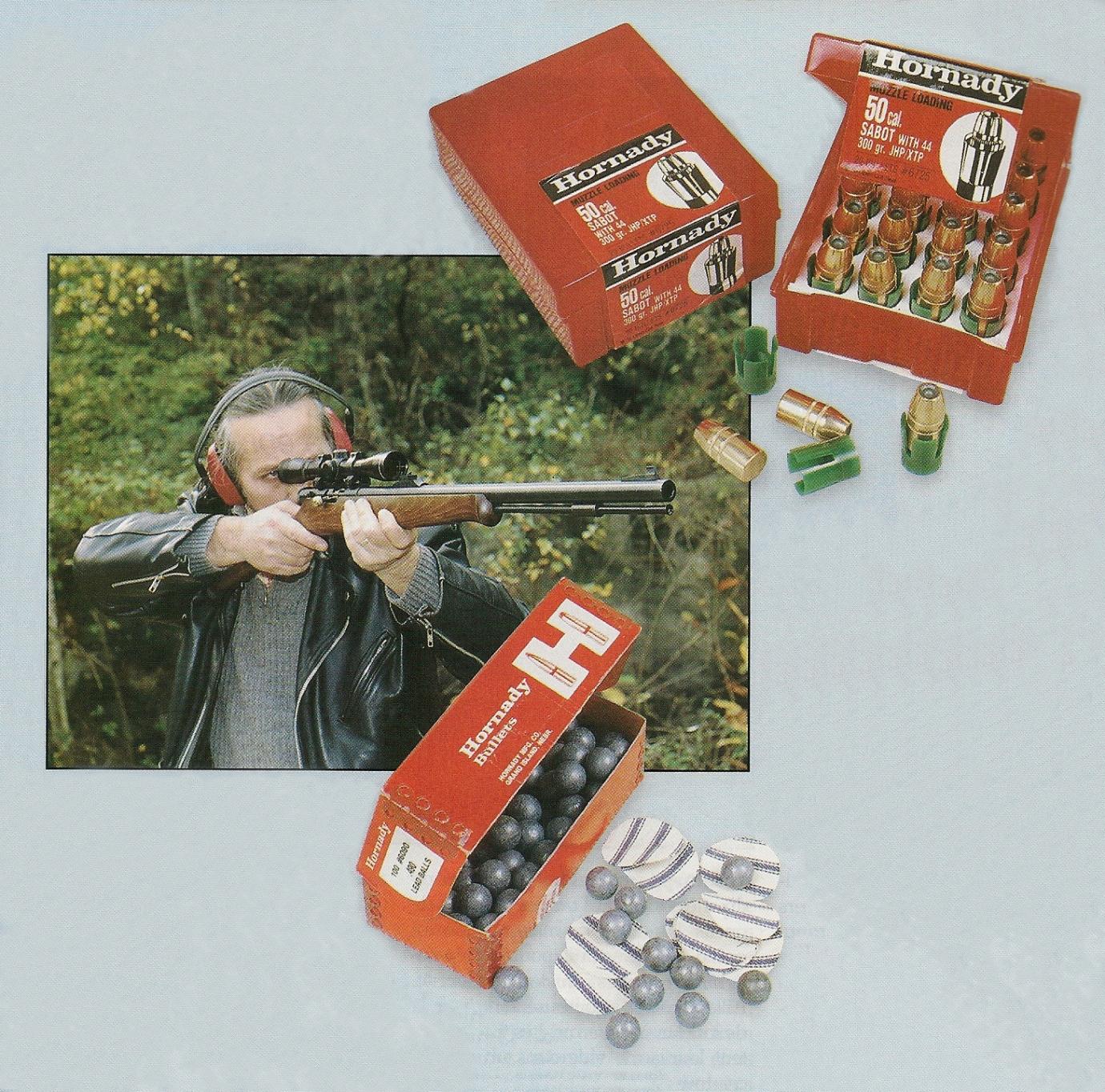 Son prix des pWeaver.lus raisonnables et la possibilité de l'équiper à moindres frais d'une lunette grossissante constituent les plus sérieux atouts de la carabine In Line. L'arme testée a été munie par nos soins d'une lunette Norconia 4 x 32, fixée au moyen de colliers Warne et de rails Weaver. On peut utiliser pour le chargement les balles Hornady Sabot de calibre .50, qui se composent d'un projectile blindé Hollow-Point de calibre .44, d'un poids de 300 grains, contenu dans un godet en nylon qui assure la prise des rayures du canon mais la méthode la plus simple et la moins onéreuse consiste à employer des balles sphériques (Hornady de calibre .490) et des calepins découpés dans une toile de coton (toile Ox-Yoke de 0,4 mm d'épaisseur).