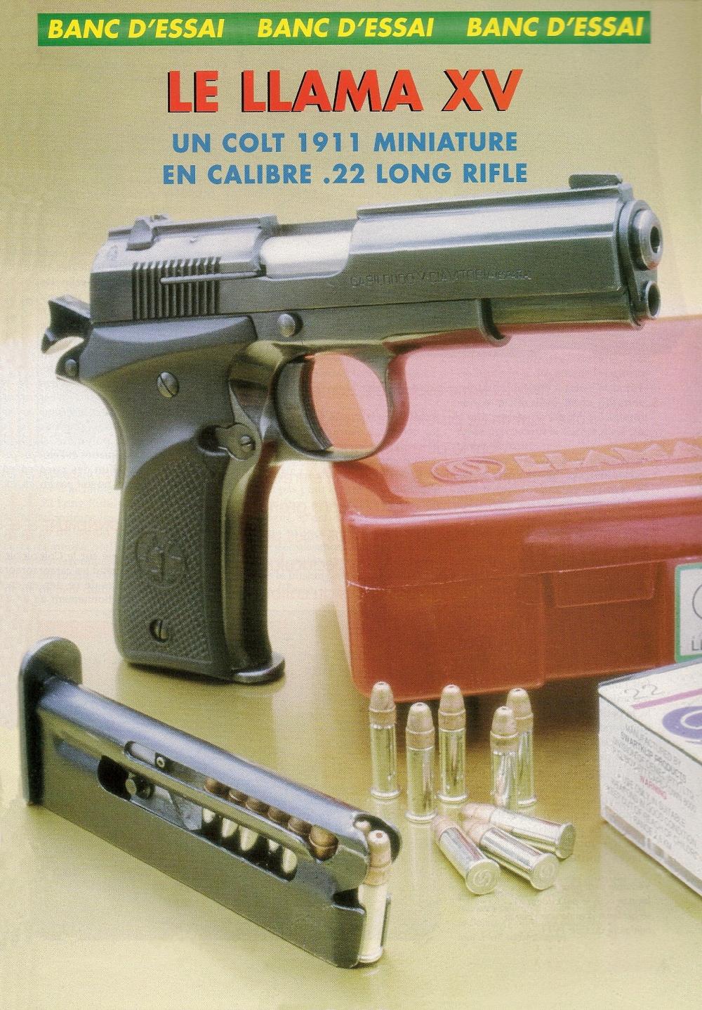 Véritable petit bijou en acier bronzé noir, le petit Llama XV se présente comme une version miniature du Colt 1911. De plus, à condition de choisir des distances de tir et des dimensions de cibles réalistes pour une petite arme de poche, ce pistolet offre des prestations tout à fait satisfaisantes.