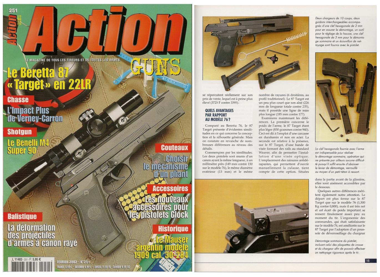 Le banc d'essai du pistolet Beretta 87 Target a été publié sur 7 pages dans le magazine Action Guns n° 251 (février 2002).