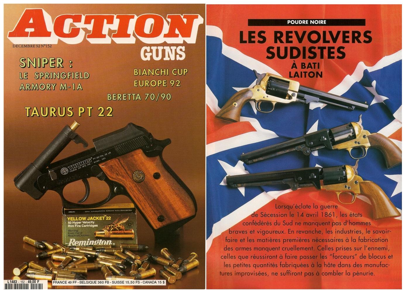 Le banc d'essai des revolvers à bâti en laiton a été publié sur 6 pages dans le magazine Action Guns n° 152 (décembre 1992).