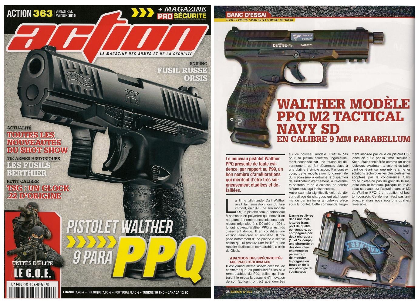 Le banc d'essai du Walther PPQ M2 Tactical Navy SD a été publié sur 6 pages dans le magazine Action n°363 (mai/juin 2015).
