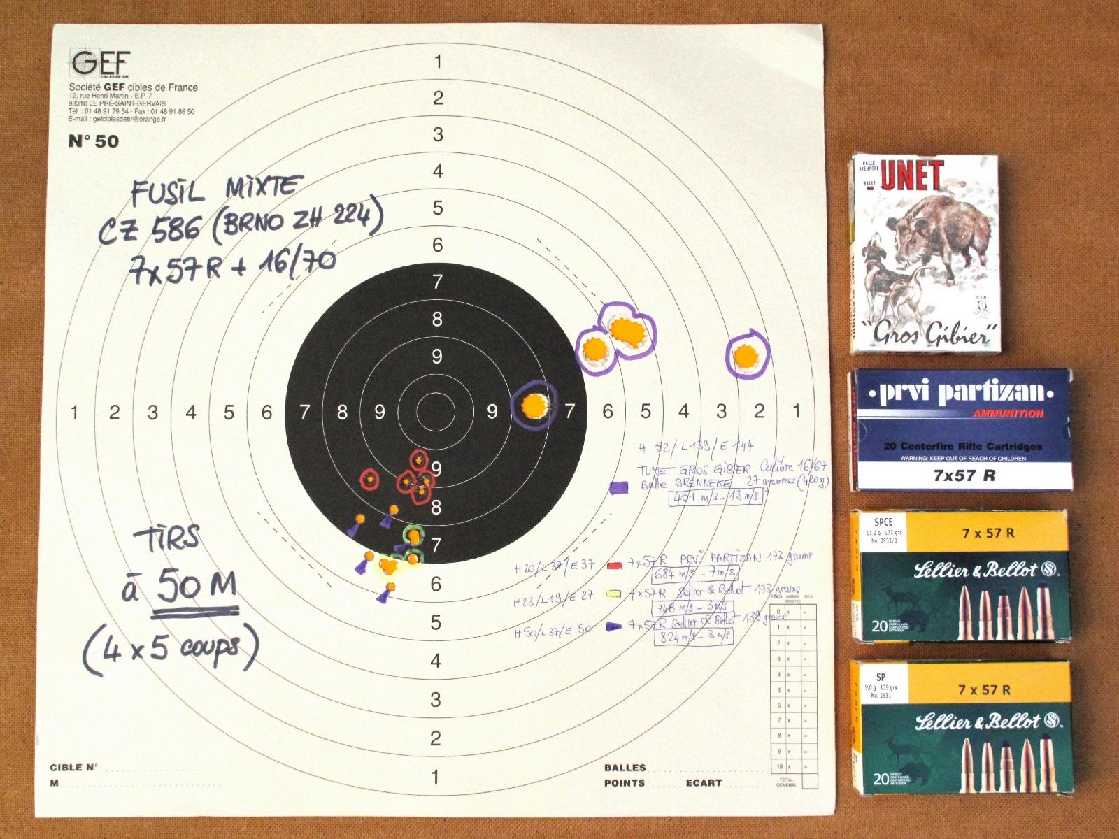 Groupements de cinq coups réalisés sur appui, à la distance de 50 m, avec trois munitions de calibre 7x57R tirées dans le canon rayé et une munition de calibre 16/67 à balle Brenneke tirée dans le canon lisse.