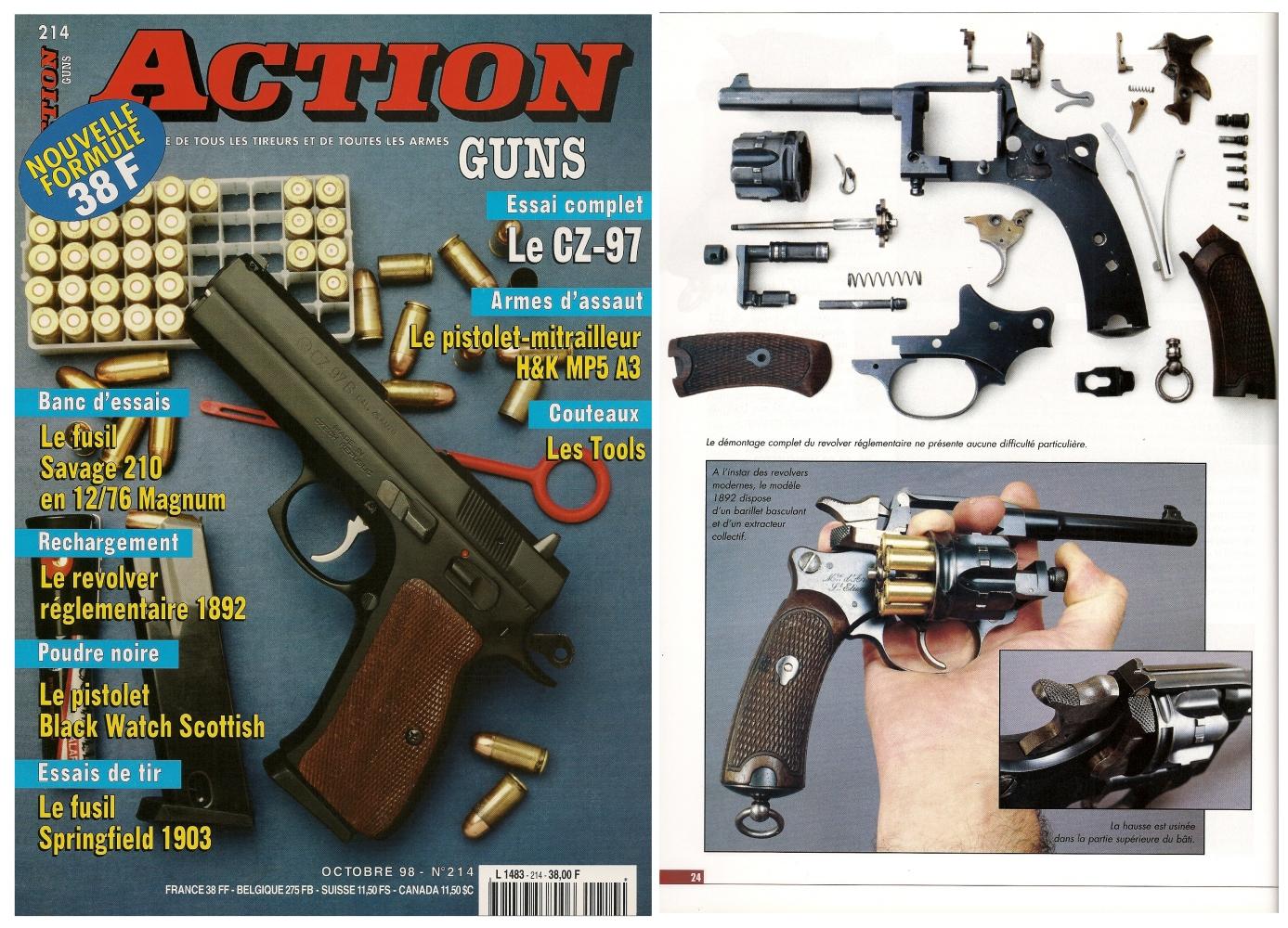 Le banc d'essai du revolver St Etienne modèle 1892 a été publié sur 5 pages dans le magazine Action Guns n°214 (octobre 1998)