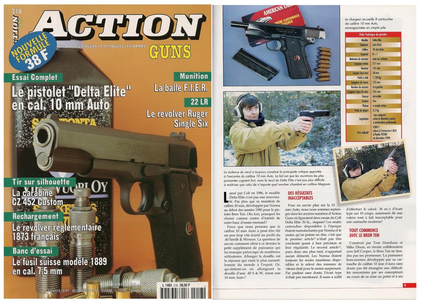 Le banc d'essai du pistolet Colt modèle Delta Elite a été publié sur 7 pages dans le magazine Action Guns n°218 (février 1999)