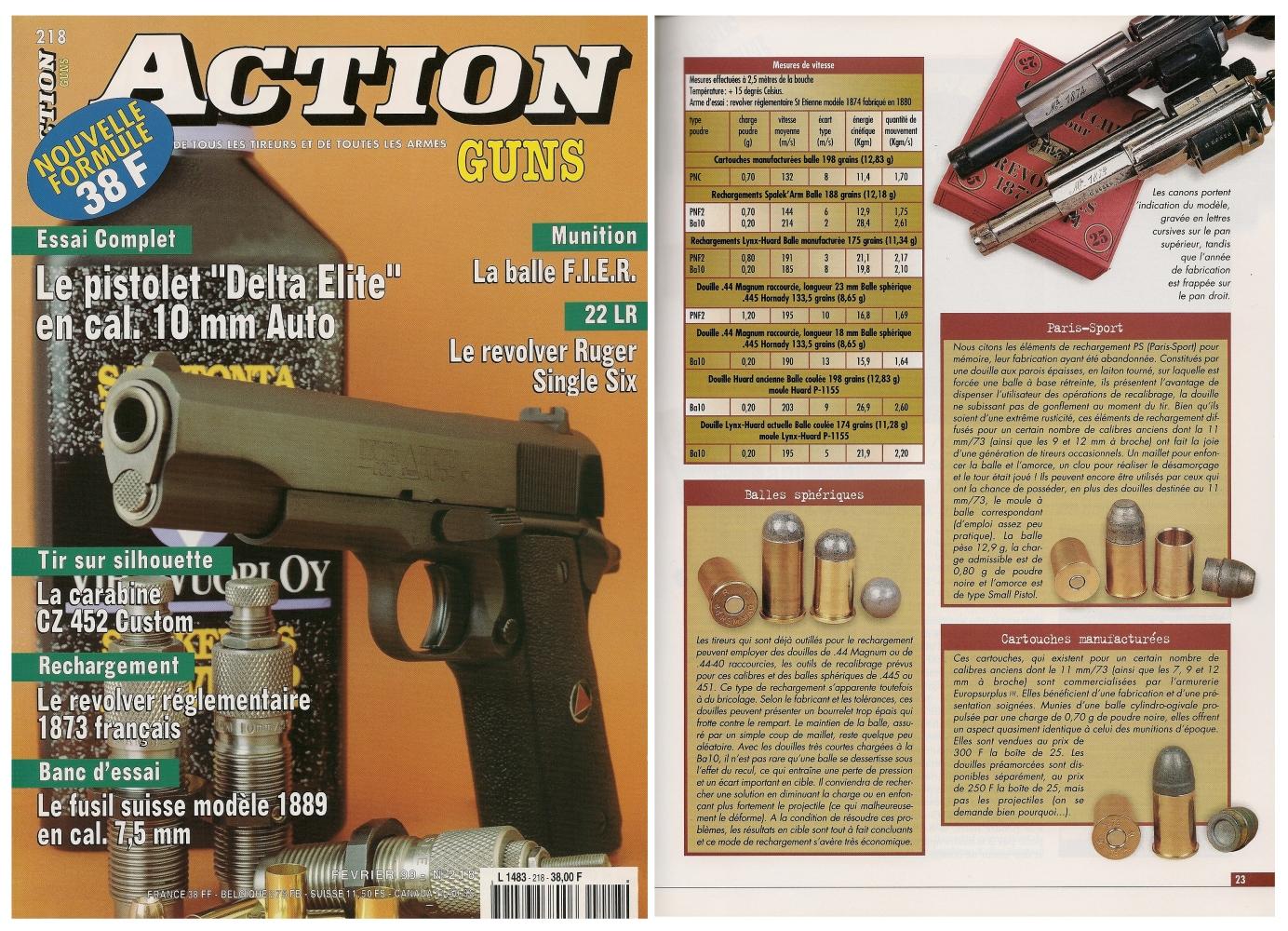 Le banc d'essai du revolver St Etienne modèle 1873 a été publié sur 6 pages dans le magazine Action Guns n°218 (février 1999)