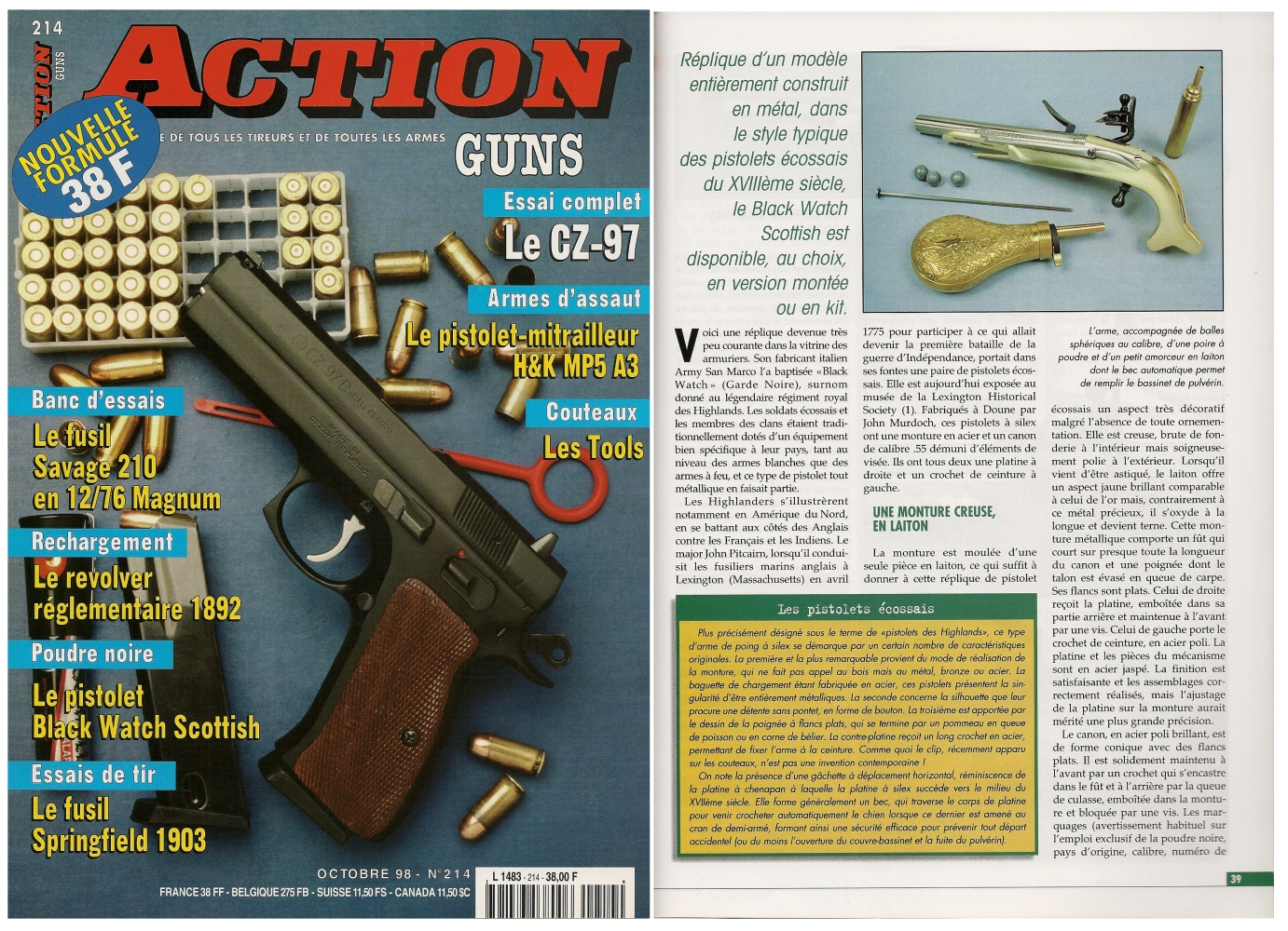 Le banc d'essai du pistolet à silex Black Watch Scottish a été publié sur 5 pages dans le magazine Action Guns n°214 (octobre 1998)