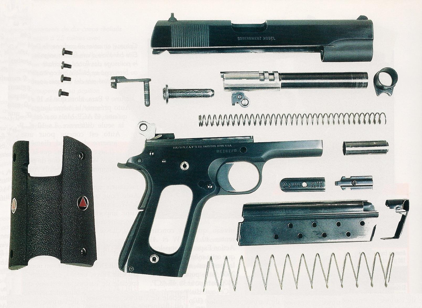 Le démontage sommaire de l'arme s'effectue de façon classique et ne nécessite aucun outil. Inclure celui du chargeur et des plaquettes permet d'effectuer un nettoyage rigoureux après une longue séance de tir.