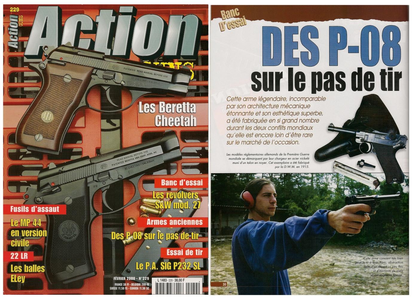 Le banc d'essai des pistolets P-08 a été publié sur 6 pages dans le magazine Action Guns n°229 (février 2000).