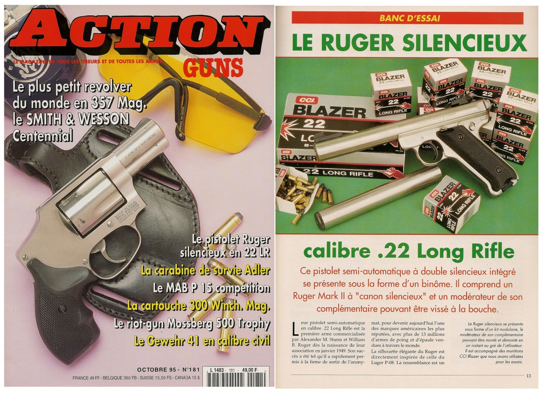 Le banc d'essai du pistolet Ruger Mark II à canon silencieux a été publié sur 5 pages dans le magazine Action Guns n°181 (octobre 1995).
