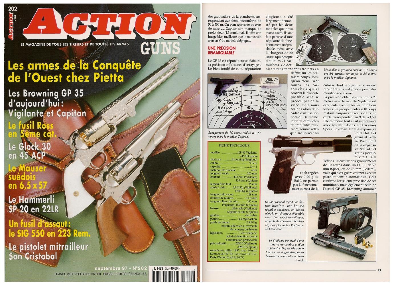 Le banc d'essai des pistolets Browning GP-35 Vigilante et Capitan a été publié sur 7 pages dans le magazine Action Guns n°202 (septembre 1997).