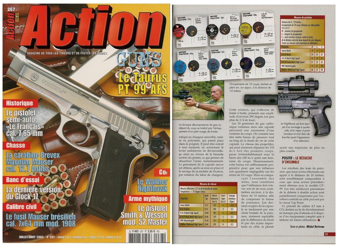 Le banc d'essai du pistolet à CO2 Walther Nighthawk a été publié sur 4 pages dans le magazine Action Guns n°267 (juillet/août 2003).
