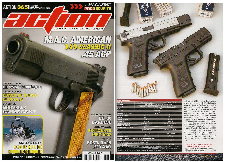 Le banc d'essai des pistolets ISSC M22 Standard & Target a été publié sur 6 pages dans le magazine Action n°365 (septembre-octobre 2015).