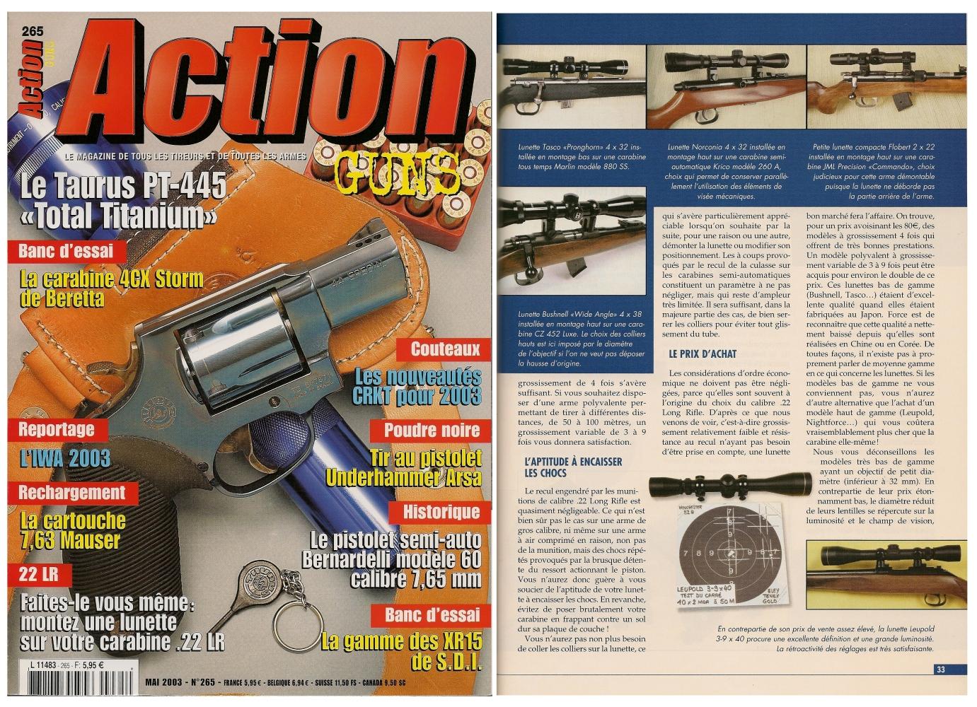 Le banc d'essai des lunettes de tir a été publié sur 5 pages Dans le magazine Action Guns n° 265 (mai 2003).