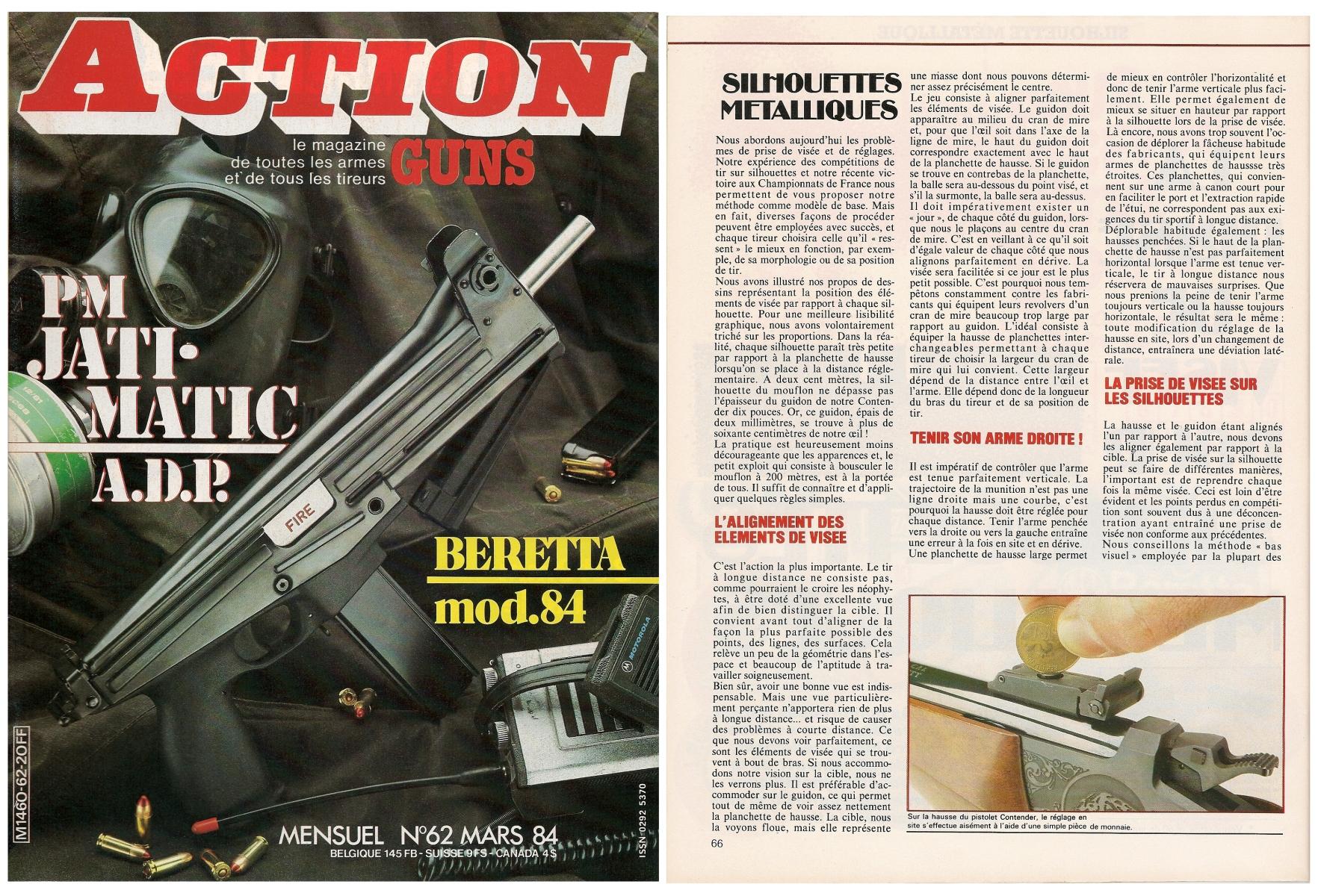 Cet article traitant de la prise de visée sur les silhouettes métalliques a été publié sur 5 pages dans le magazine Action Guns n°62 (mars 1984).