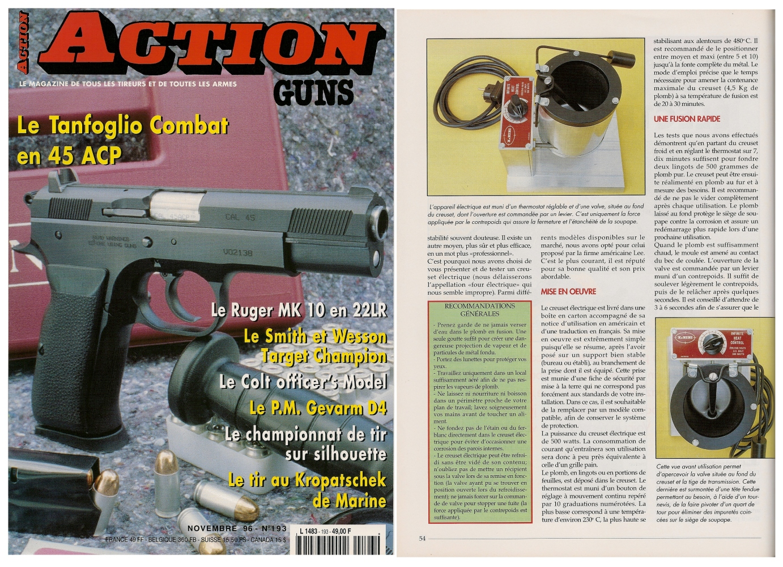 Le banc d'essai du creuset électrique LEE a été publié sur 5 pages dans le magazine Action Guns n°193 (novembre 1996).