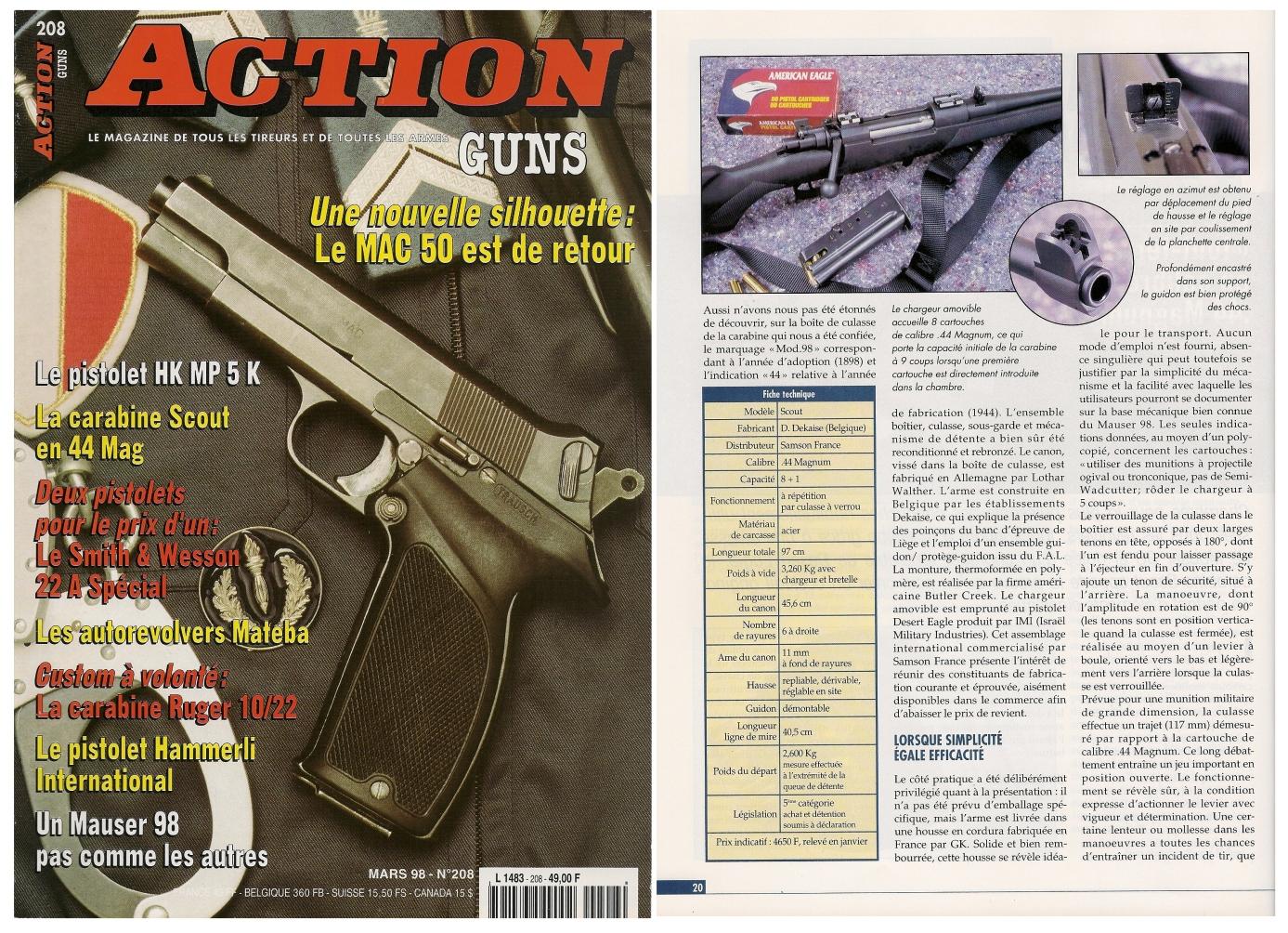 Le banc d'essai de la carabine « Scout » Samson France a été publié sur 5 pages dans le magazine Action Guns n°208 (mars 1998).