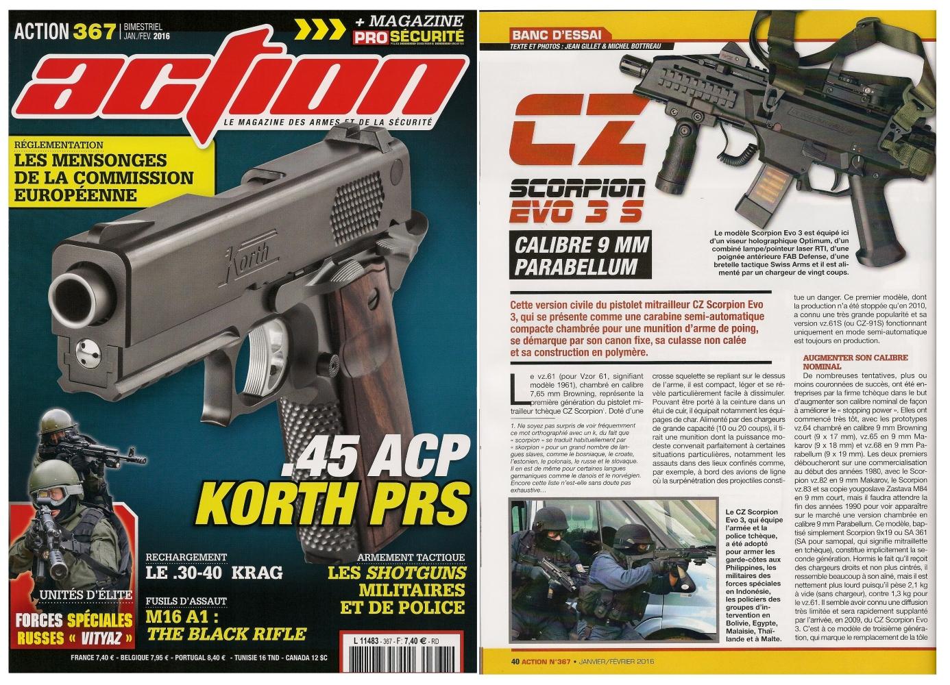 Le banc d'essai de la carabine CZ Scorpion Evo 3 S a été publié sur 6 pages dans le magazine Action n°367 (janvier-février 2016).