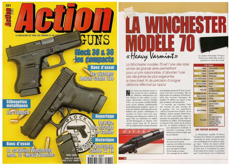 Le banc d'essai des carabines Winchester modèle 70 « Heavy Varmint » en calibre .22-250 et .222 a été publié sur 6 pages dans le magazine Action Guns n°231 (avril 2000).