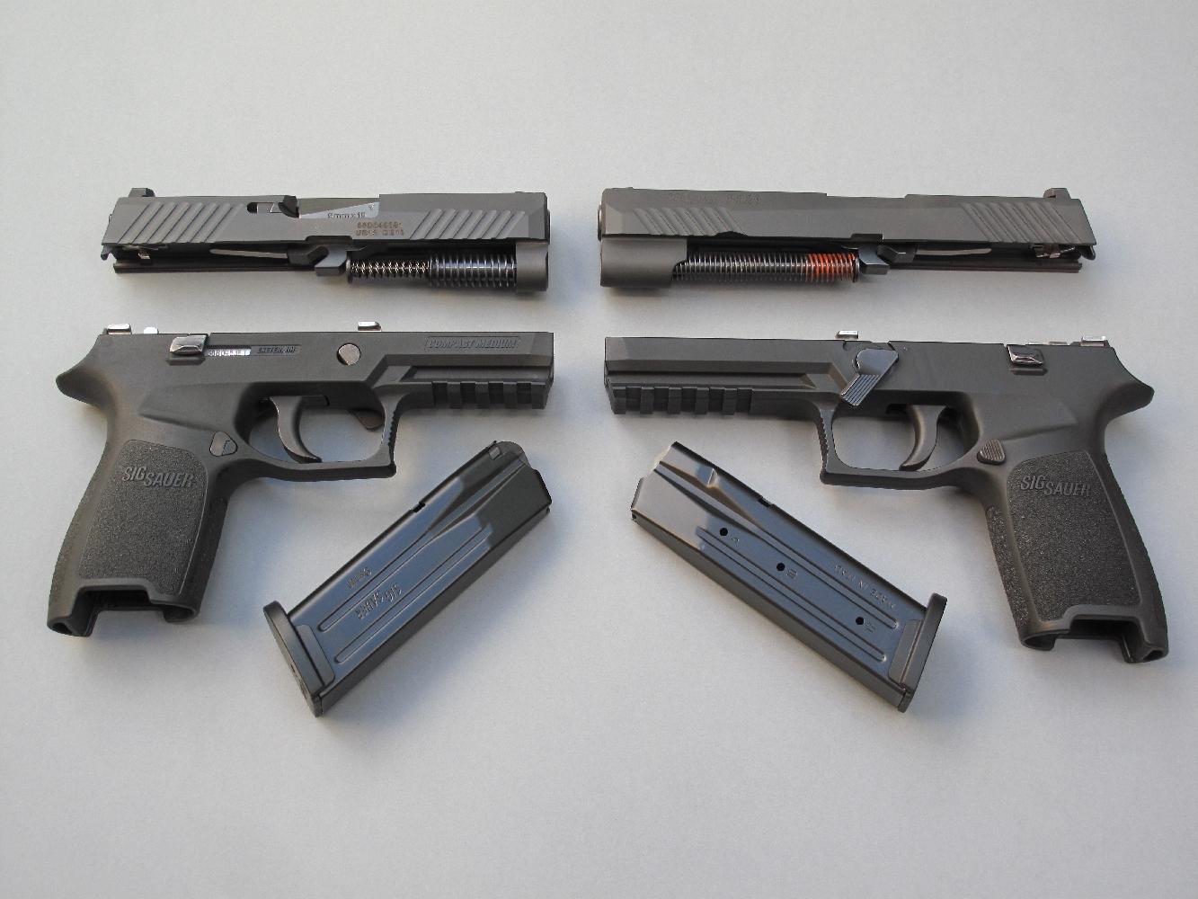 Le démontage sommaire de ces deux modèles P320 peut être réalisé de façon instantanée, grâce au traditionnel levier en acier qu'il suffit de basculer vers le bas pour libérer la culasse à glissière.