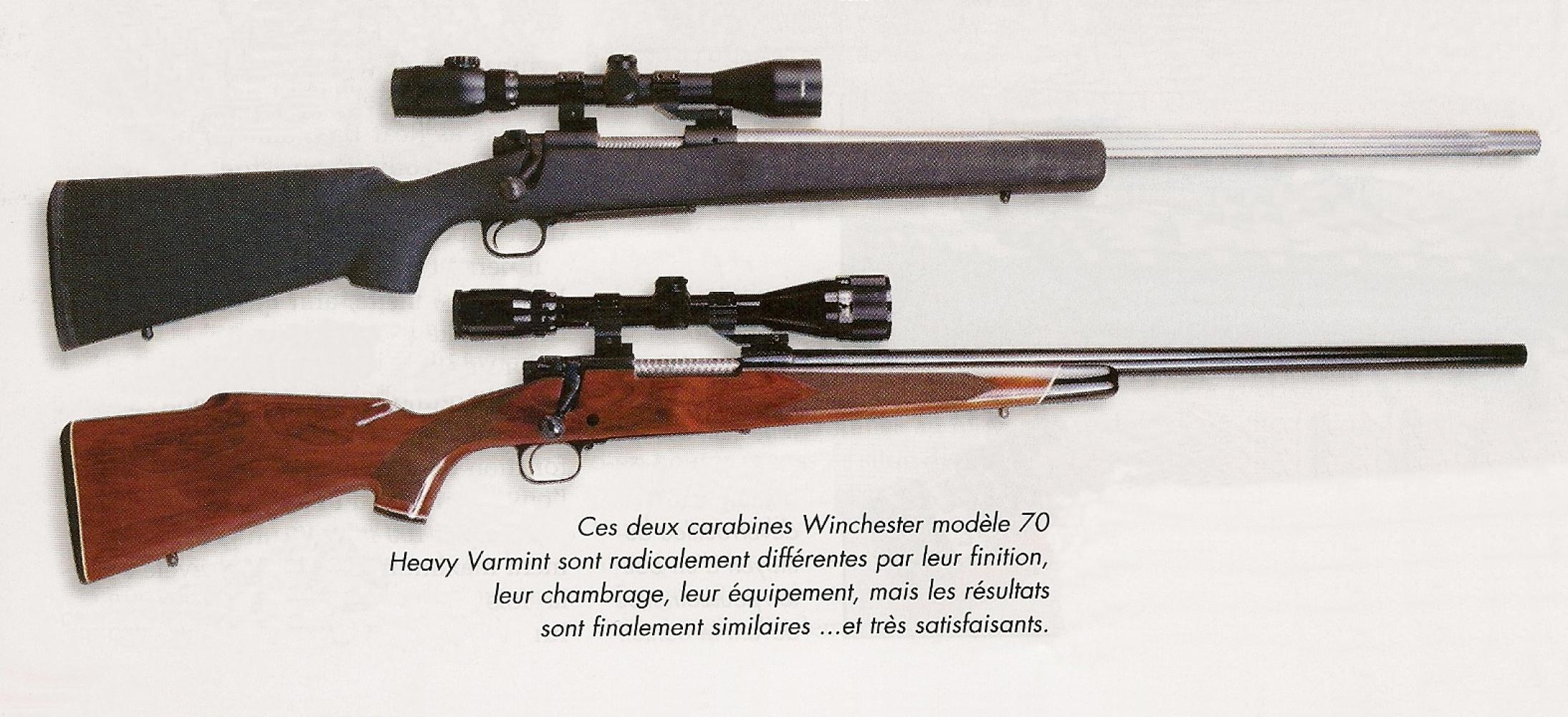 Ces deux carabines Winchester modèle 70 Heavy Varmint sont radicalement différentes par leur finition, leur chambrage et leur équipement, mais les résultats en cible sont finalement similaires... et très satisfaisants !