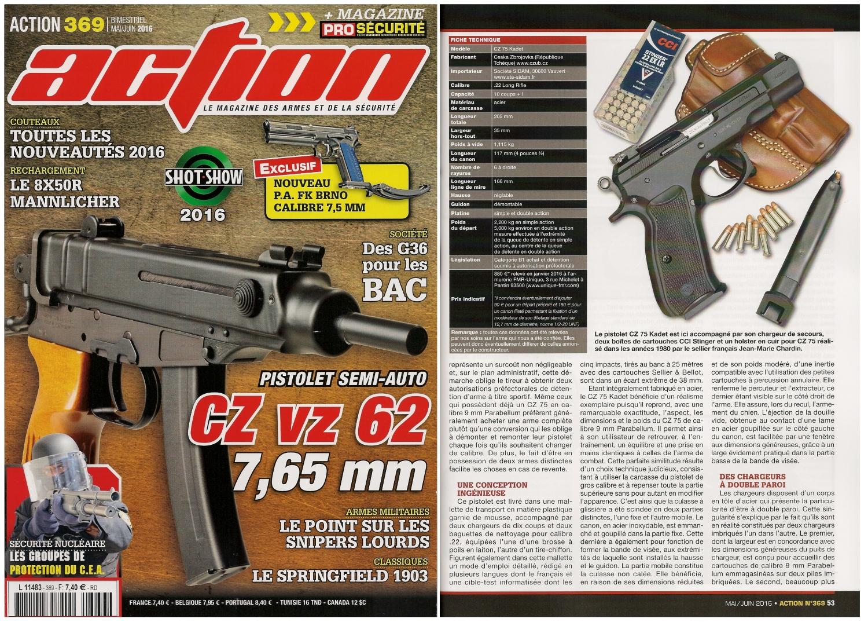Le banc d'essai du pistolet CZ 75 Kadet a été publié sur 6 pages dans le magazine Action n°369 (mai/juin 2016).