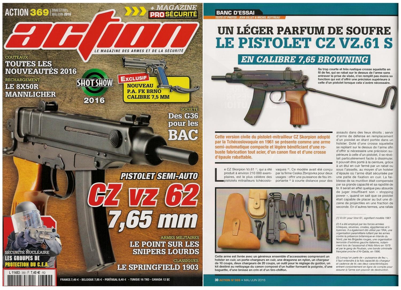 Le banc d'essai du pistolet CZ Vz.61 S a été publié sur 6 pages dans le magazine Action n°369 (mai/juin 2016).