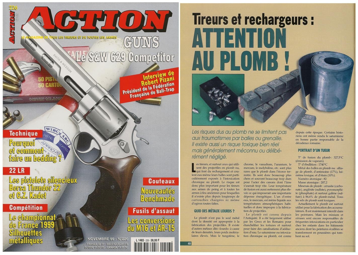 Cet article sur les risques d'intoxication, écrit par le Dr Pierre Corson, a été publié sur 4 pages dans le magazine Action Guns n° 226 (novembre 1999).