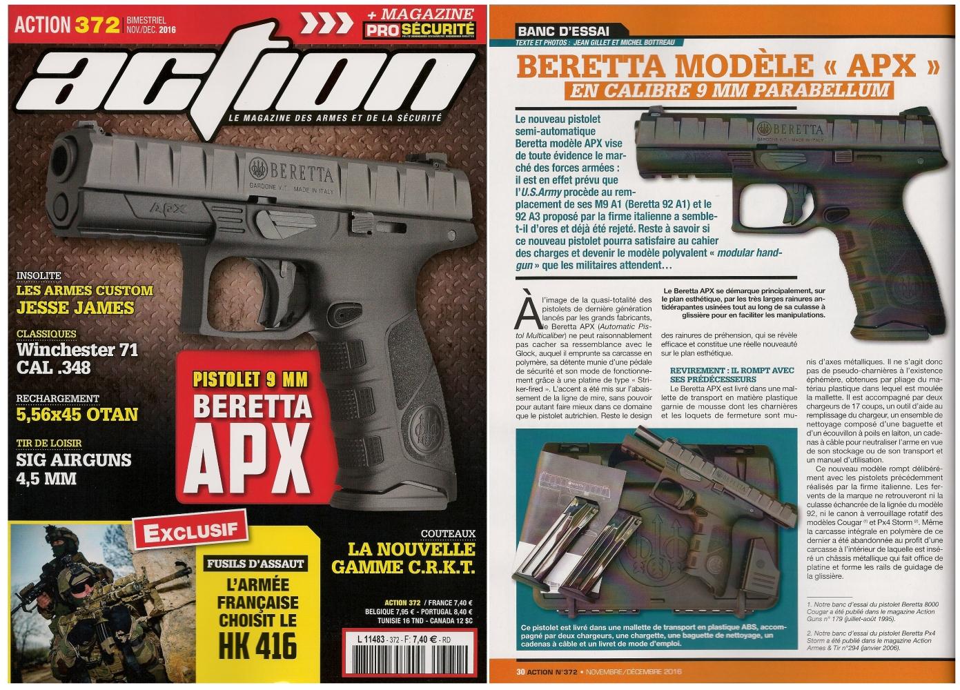 Le banc d'essai du pistolet Beretta modèle APX a été publié sur 6 pages dans le magazine Action Guns n°372 (novembre-décembre 2016).