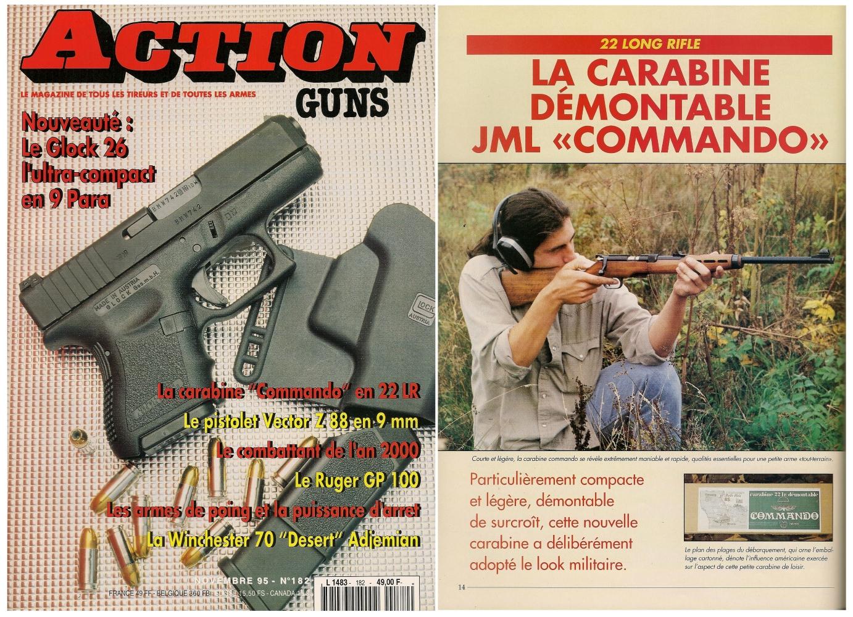 Le banc d'essai de la carabine JML Commando a été publié sur 5 pages dans le magazine Action Guns n°182 (novembre 1995).