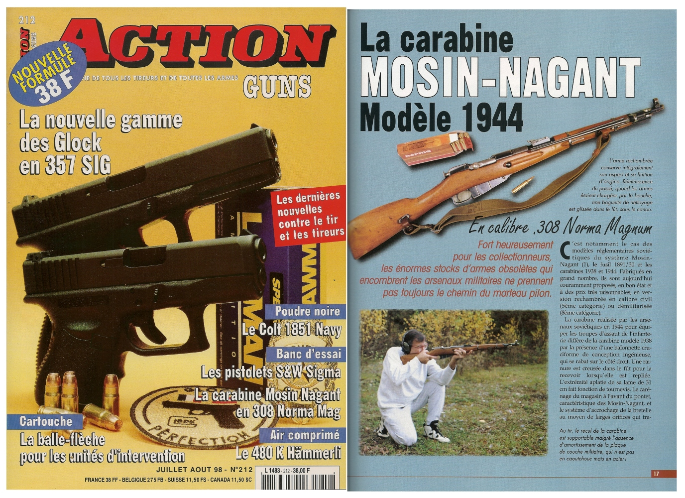Le banc d'essai de la carabine Mosin-Nagant modèle 1944 a été publié sur 4 pages dans le magazine Action Guns n°212 (juillet-août 1998).