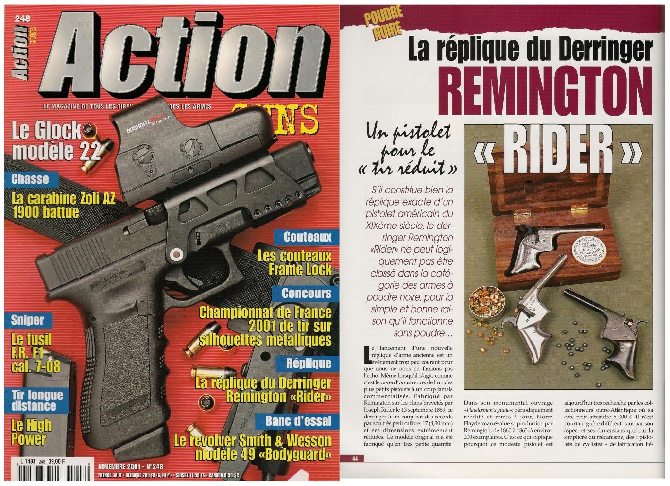 Le banc d'essai de la réplique du derringer Remington Rider a été publié sur 4 pages dans le magazine Action Guns n°248 (novembre 2001).