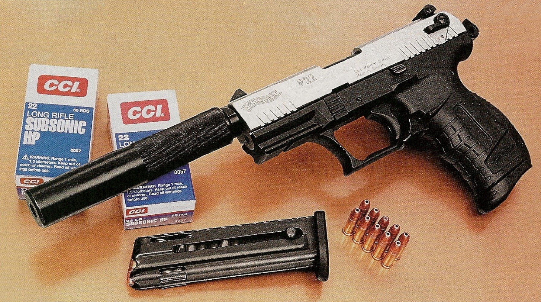 Les munitions subsoniques CCI présentent l'avantage d'offrir un fonctionnement irréprochable dans ce pistolet, qu'il soit ou non équipé du silencieux.