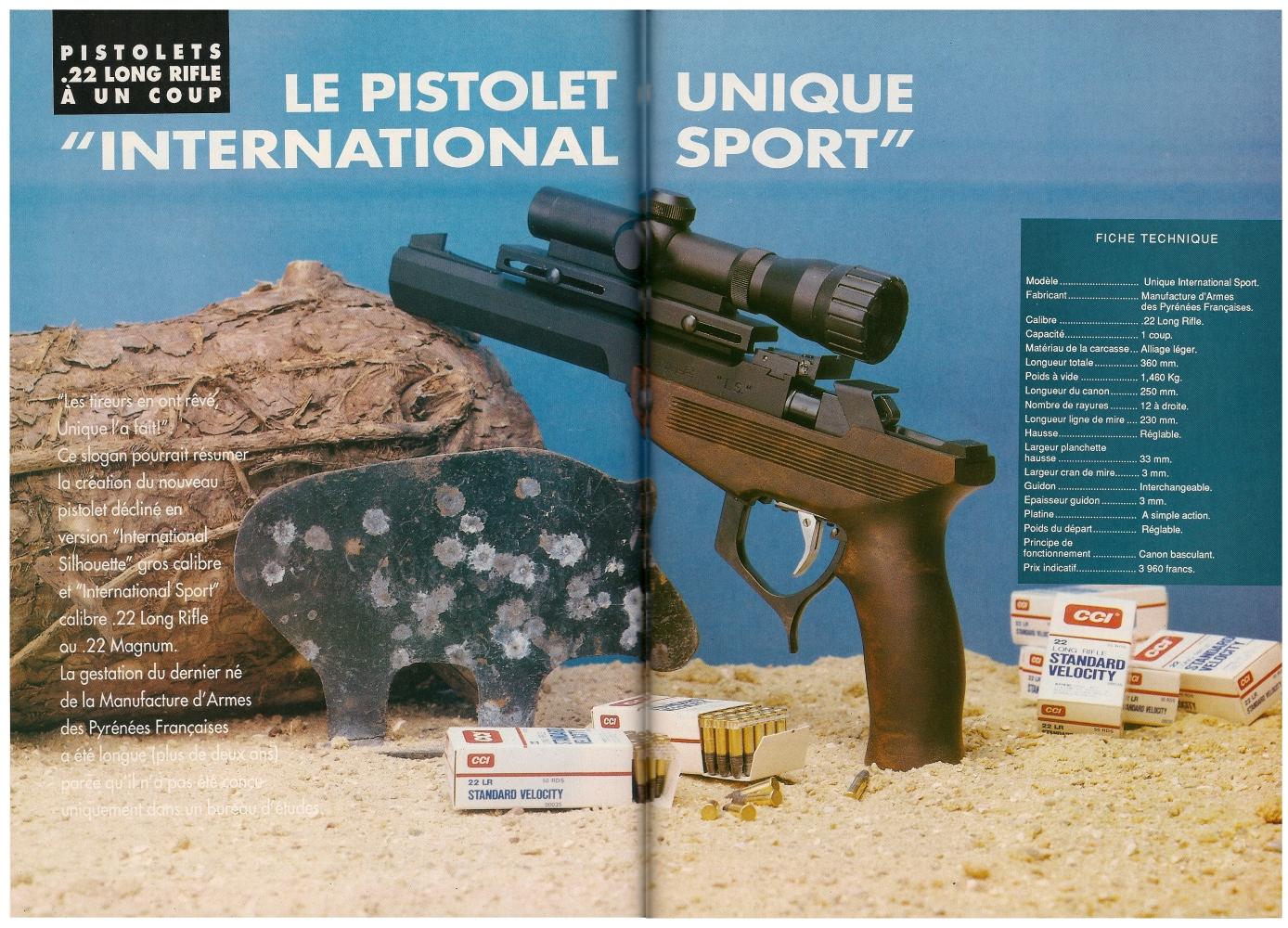 Le banc d'essai du pistolet Unique modèle IS a été publié sur 7 pages dans le magazine Action Guns n°150 (octobre 1992).