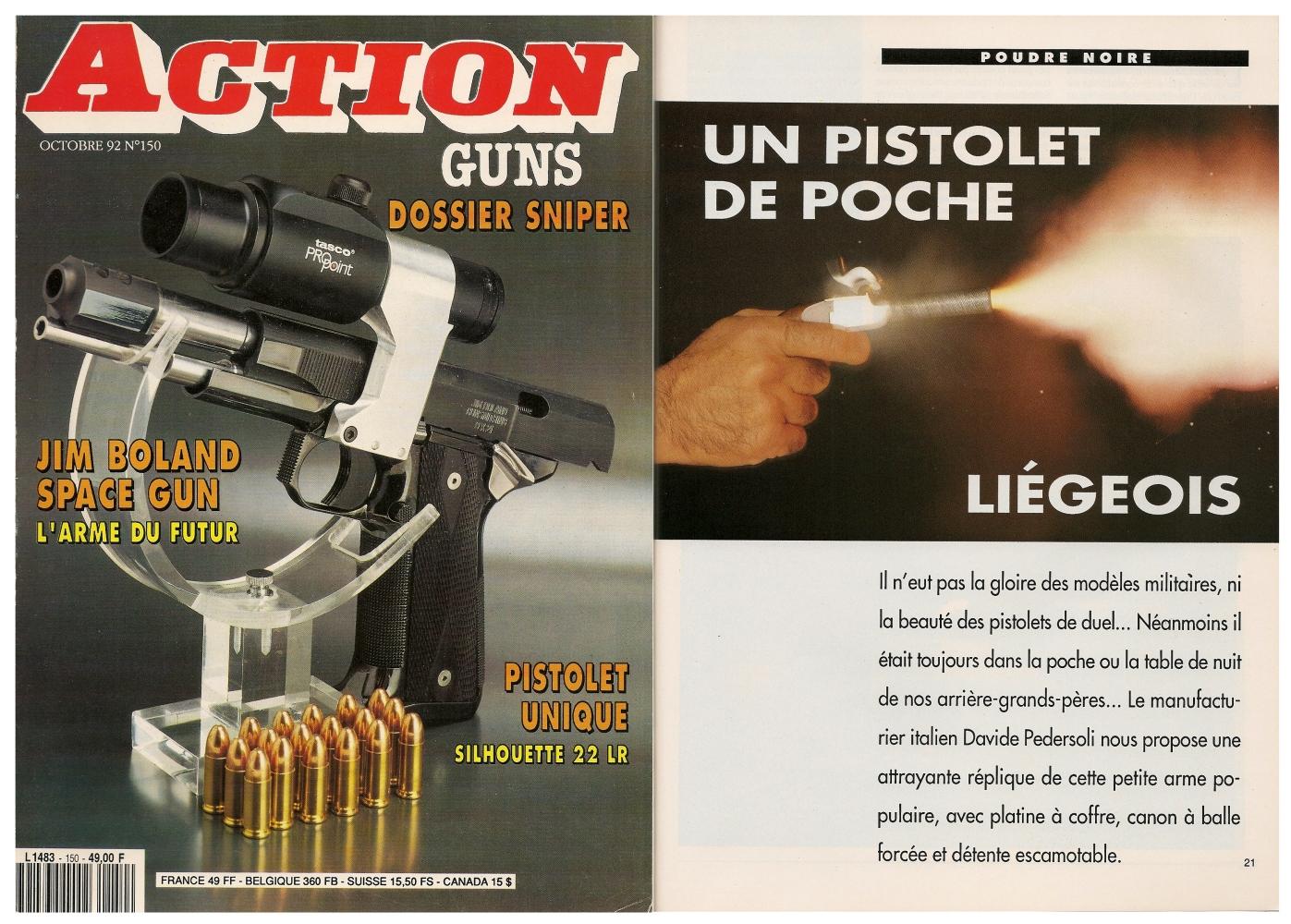 Le banc d'essai de la réplique de pistolet de poche liégeois a été publié sur 4 pages dans le magazine Action Guns n°150 (octobre 1992).