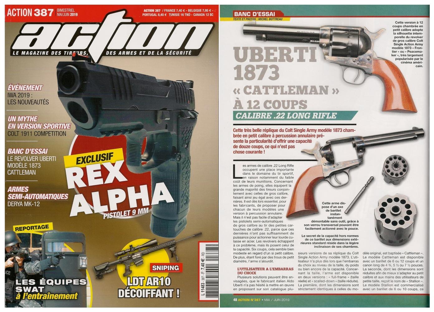 Le banc d'essai du revolver Uberti 1873 Cattleman a été publié sur 5 pages dans le magazine Action n°387 (mai/juin 2019).