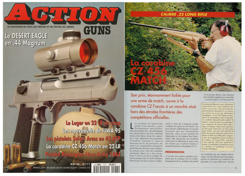 Le banc d'essai de la carabine CZ 456 Match a été publié sur 5 pages dans le magazine Action Guns n°177 (mai 1995).