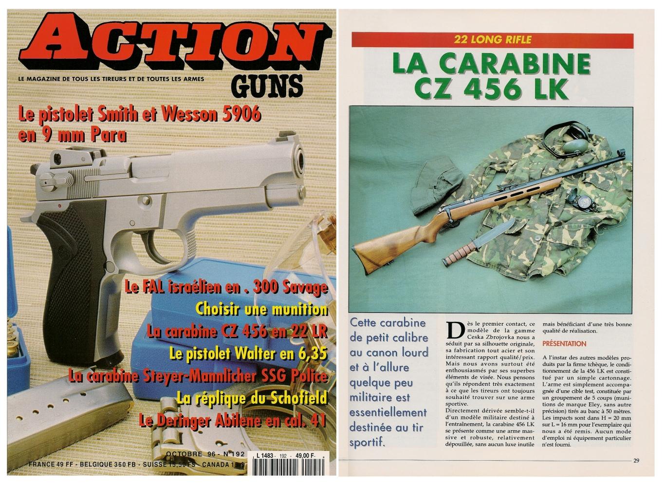 Le banc d'essai de la carabine CZ 456 LK a été publié sur 5 pages dans le magazine Action Guns n°192 (octobre 1996).