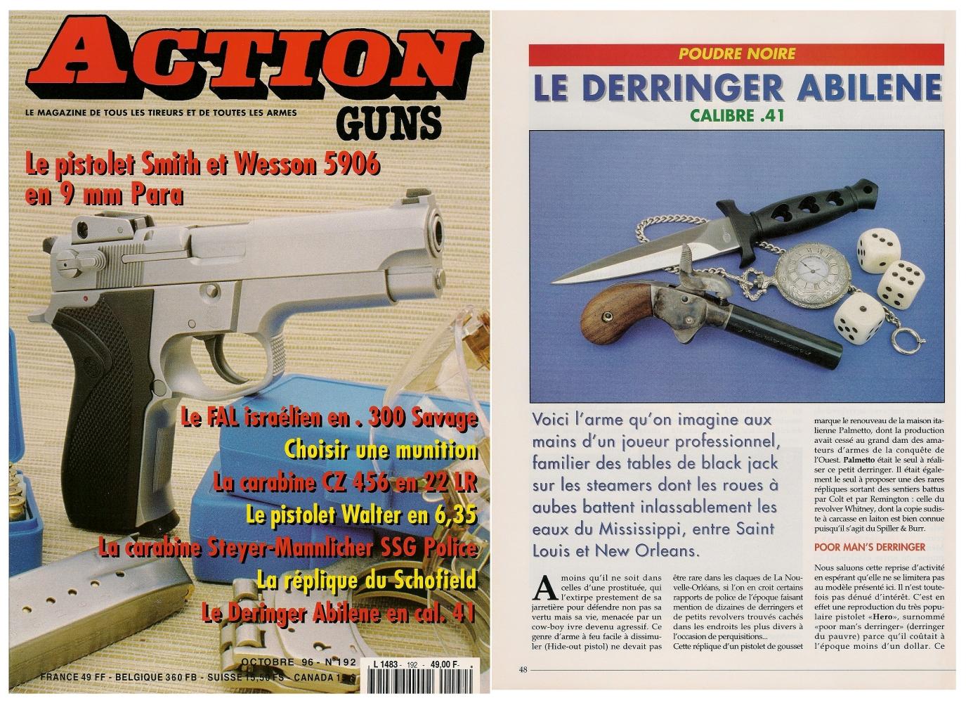 Le banc d'essai de la réplique de derringer Abilene a été publié sur 5 pages dans le magazine Action Guns n°192 (octobre 1996).