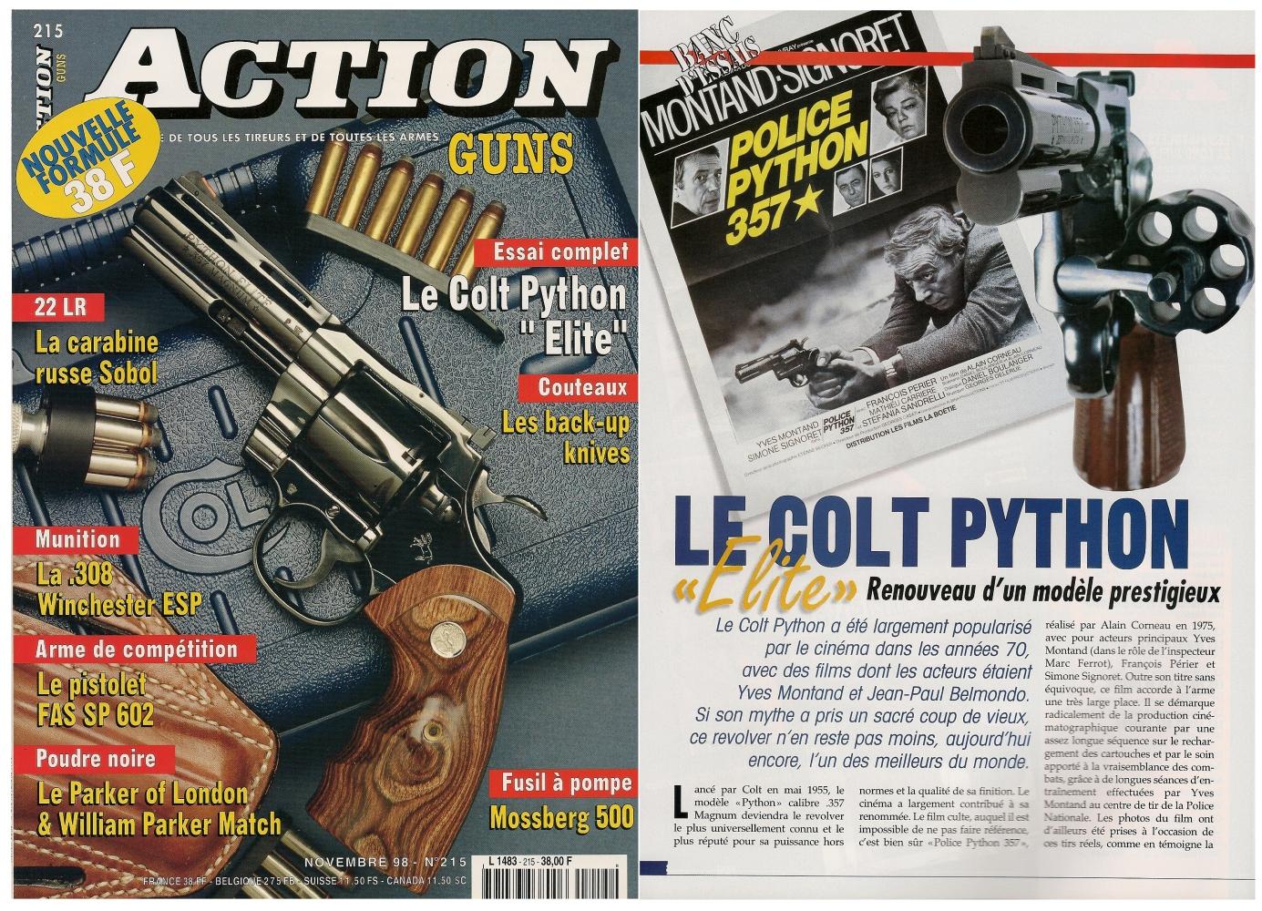Le banc d'essai du Colt Python « Elite » a été publié sur 7 pages dans le magazine Action Guns n°215 (novembre 1998).