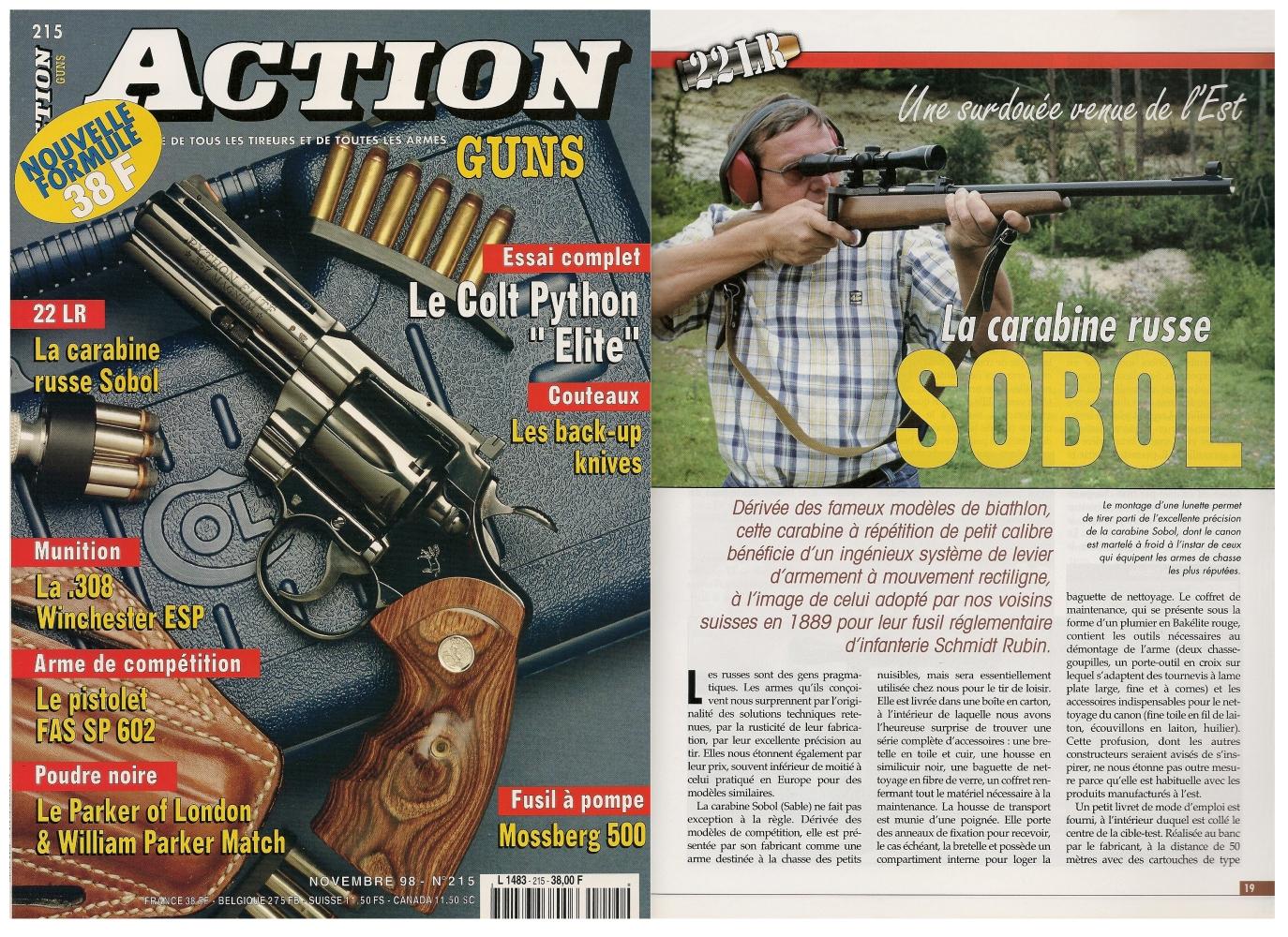 Le banc d'essai de la carabine Izhmash « Sobol » a été publié sur 5 pages dans le magazine Action Guns n°215 (novembre 1998).
