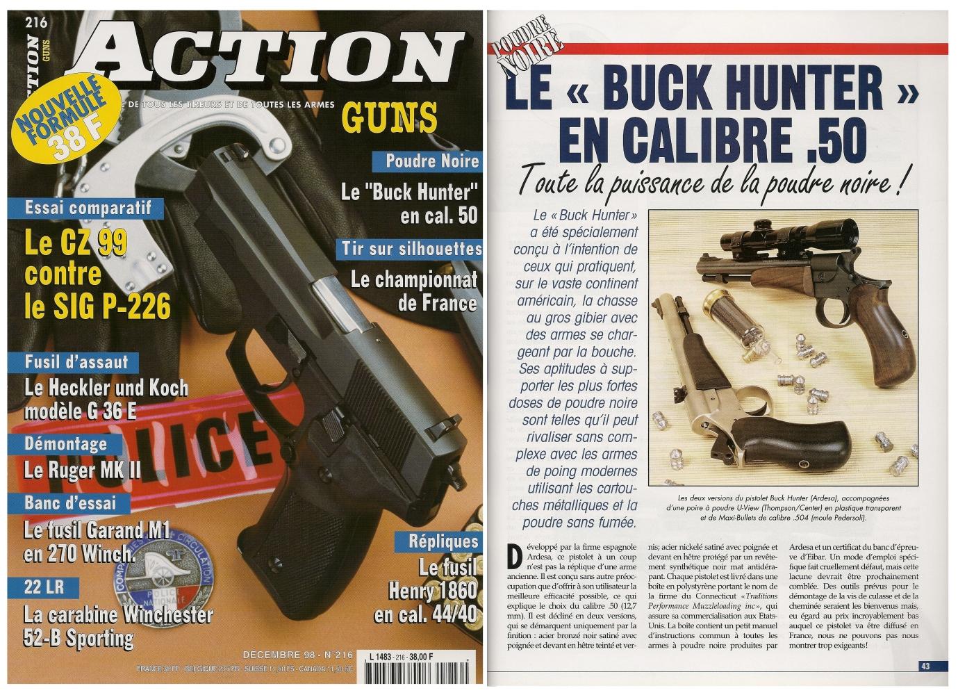 Le banc d'essai du pistolet à poudre noire Buck Hunter a été publié sur 5 pages dans le magazine Action Guns n°216 (décembre 1998).