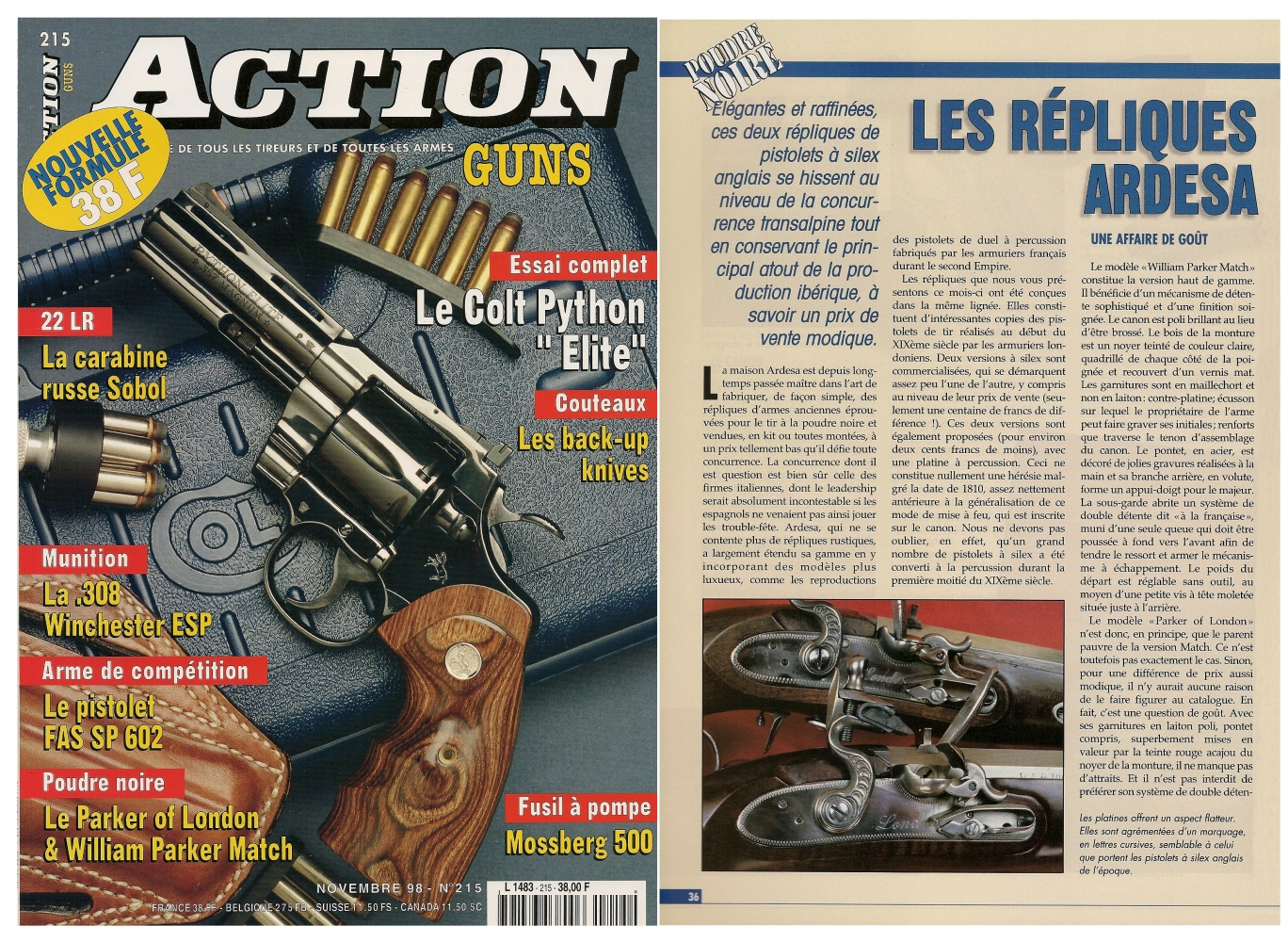 Le banc d'essai des pistolets « Parker of London » et « William Parker Match » a été publié sur 5 pages dans le magazine Action Guns n°215 (novembre 1998).