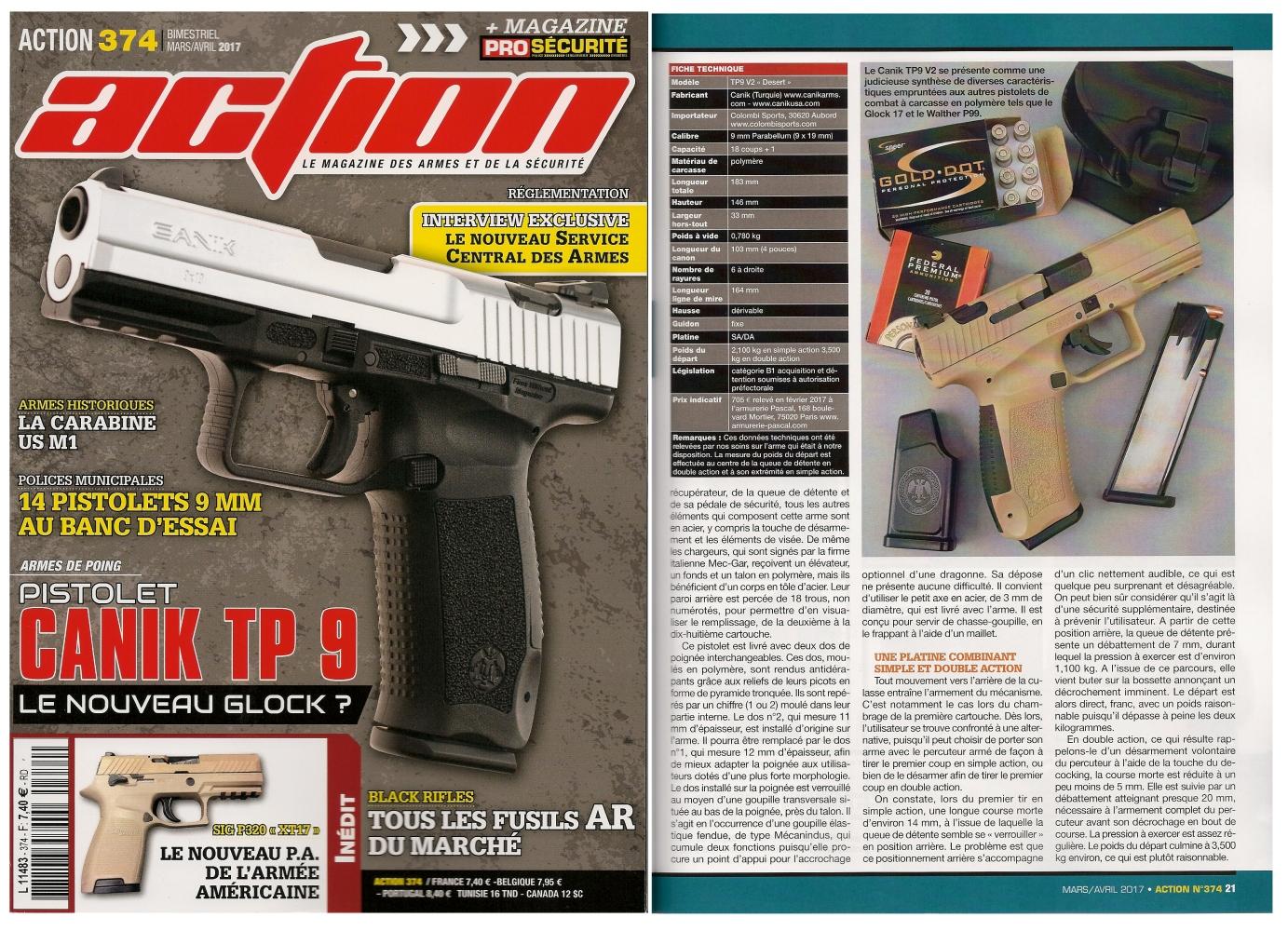 Le banc d'essai du pistolet Canik TP9 V2 a été publié sur 6 pages dans le magazine Action n° 374 (mars/avril 2017).