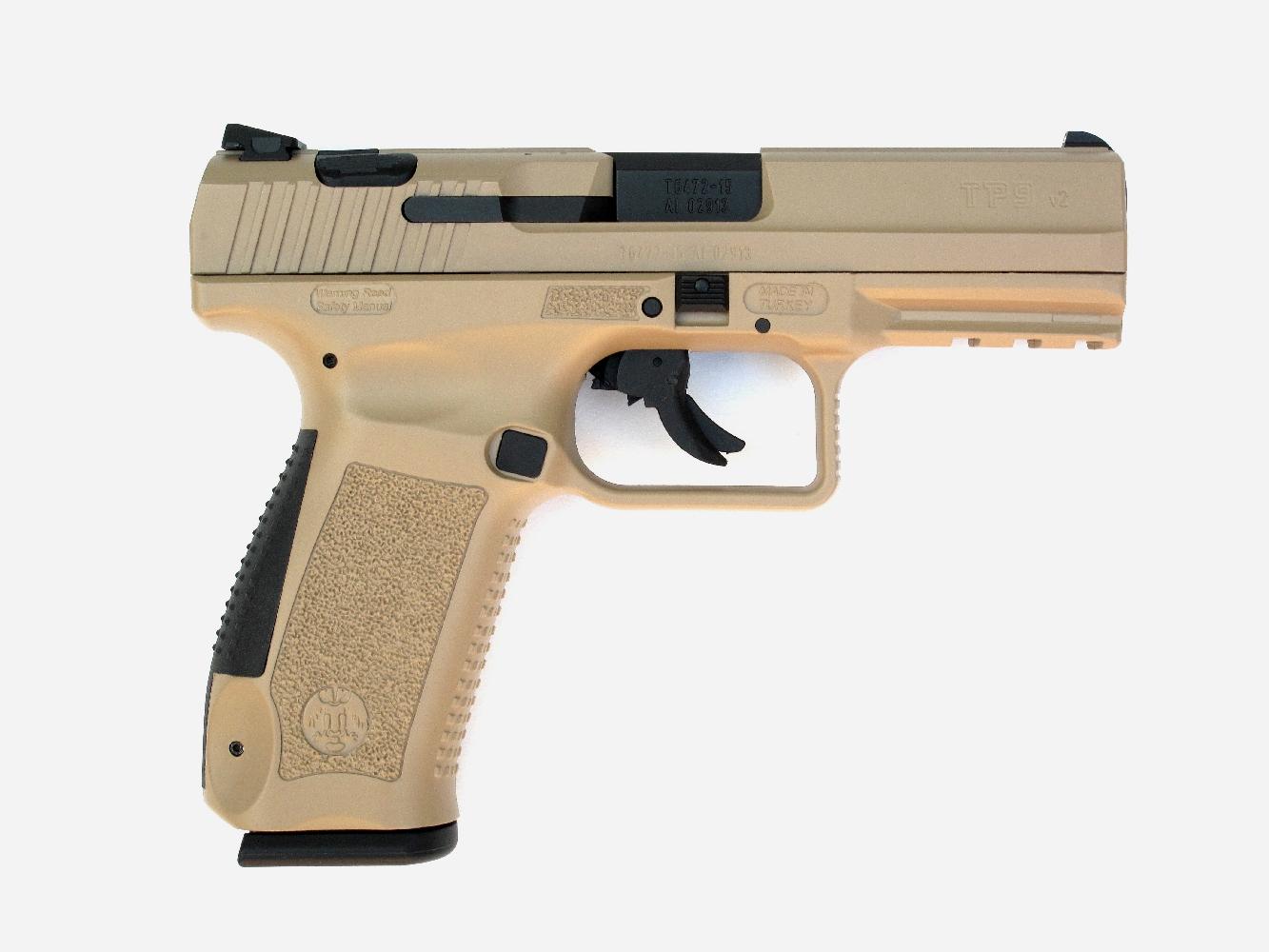 Le TP9 V2 se présente comme une judicieuse synthèse de diverses caractéristiques empruntées aux autres pistolets de combat à carcasse en polymère tels que le Glock 17 et le Walther P99.